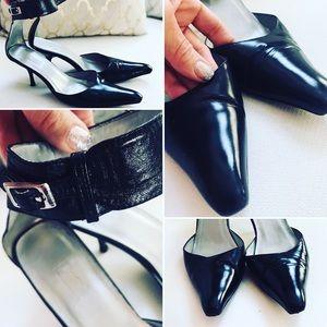 Camo international leather ankle cuff heels Sz 8.5
